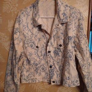 Women's white jean floral jacket